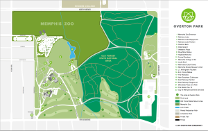 Map of Overton Park in Memphis, TN
